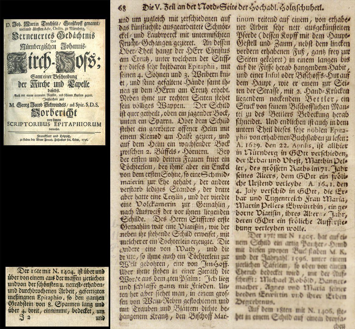 """Epitaph des Martin Peller (gest. 1629) und Ehefrau Maria Viatis (gest. 1641) Auszug aus Joh. Martin Trechsels, Großkopf genannt: """"Verneuertes Gedächtnis des nürnbergischen Johannis Kirch Hof ..."""" , Franckf. & Leipzig 1735"""