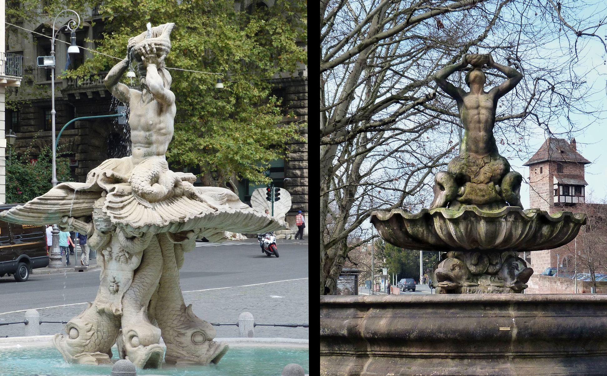Tritonbrunnen Rom / Nürnberg, Fontana del Tritone, frontal