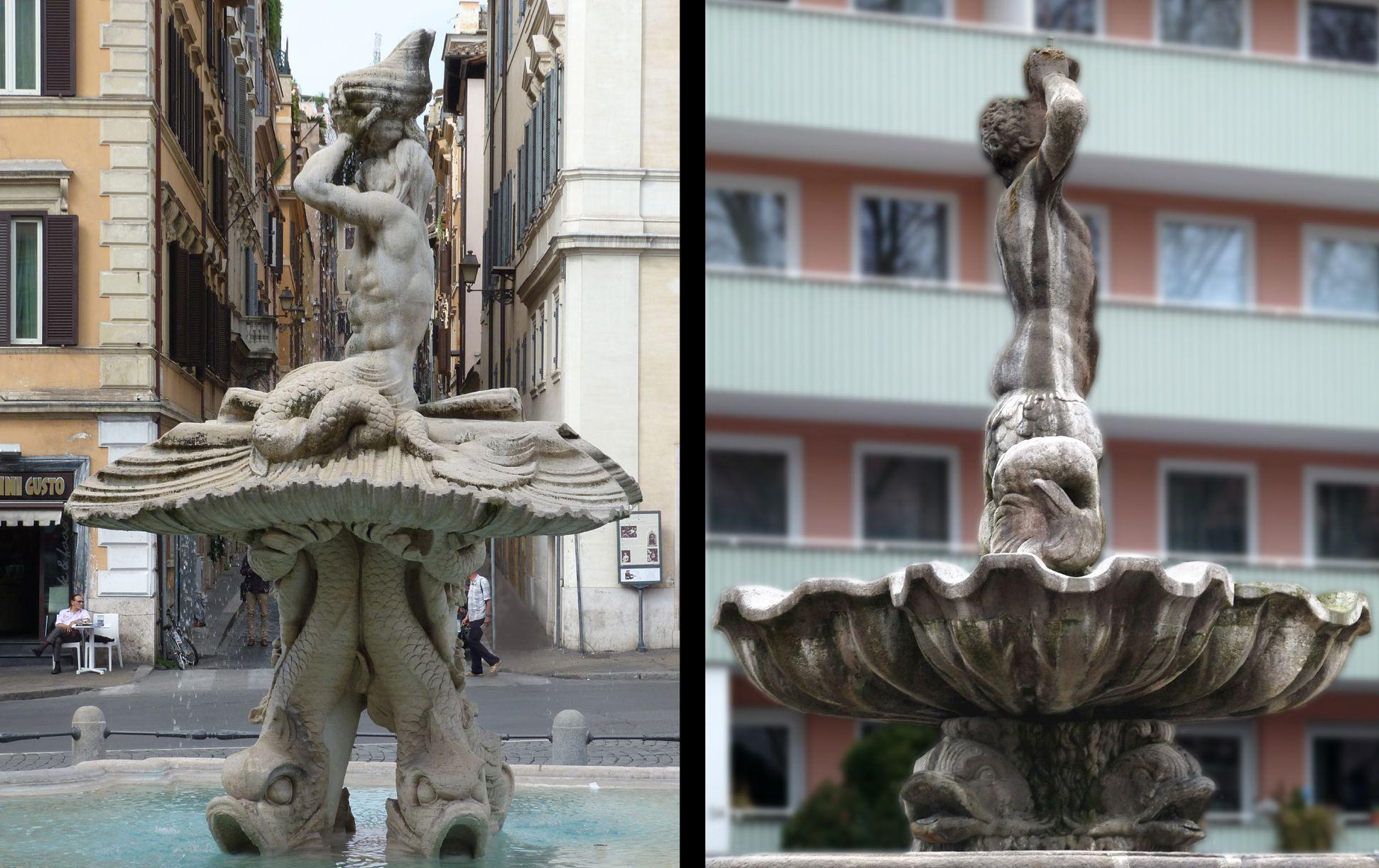 Tritonbrunnen Rom / Nürnberg, Fontana del Tritone, Seitenansicht