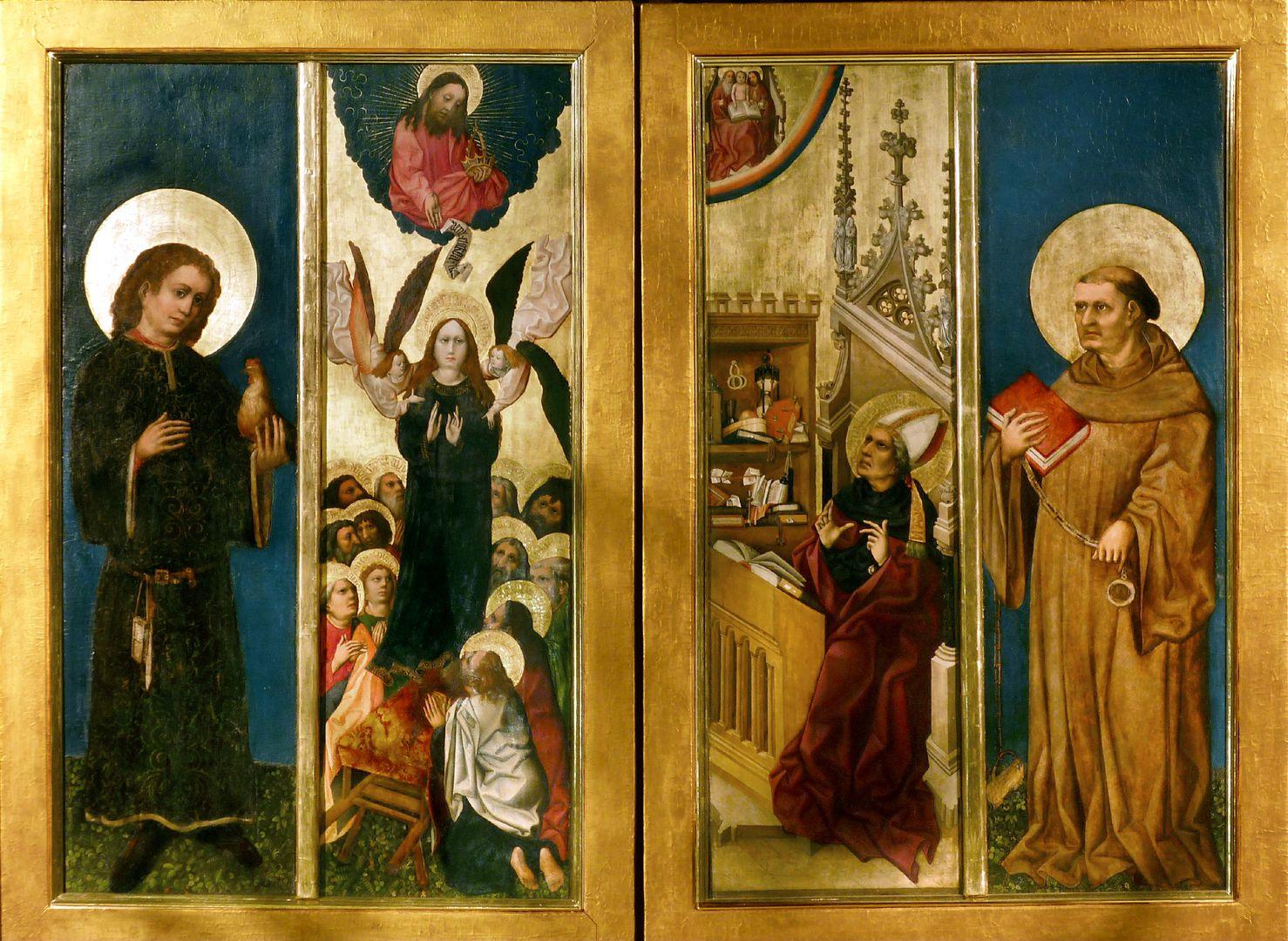 Tucheraltar geschlossener Zustand, Gesamtansicht von l. nach r.: Heiliger Vitus, Aufnahme Maria in den Himmel, Dreifaltigkeitsvision des Heiligen Augustinus, Heiliger Leonhard
