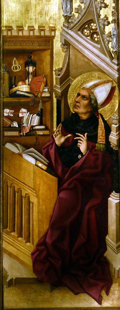 Tucheraltar Heiliger Augustinus am Pult sitzend mit Dorsalwimperg