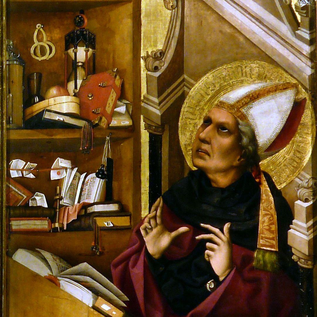 Tucheraltar Heiliger Augustinus mit Regal: Klappbrille, Sanduhr, Tintenfass usw.