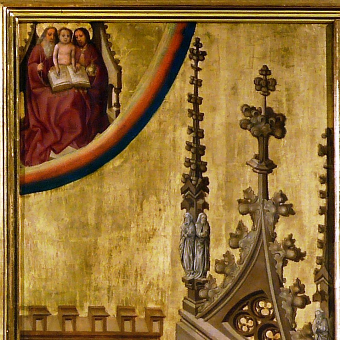Tucheraltar Dreieinigkeit im Regenbogen (Der Heilige Geist ist bereits Menschenkind geworden, Kleidung fusioniert), Filialen, Wimperg