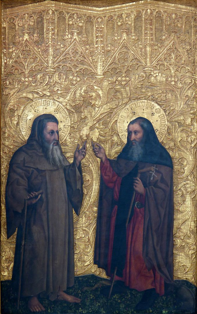 Tucheraltar Rechte Flügelseite, der hl. Paulus Eremita und der hl. Antonius Abbas