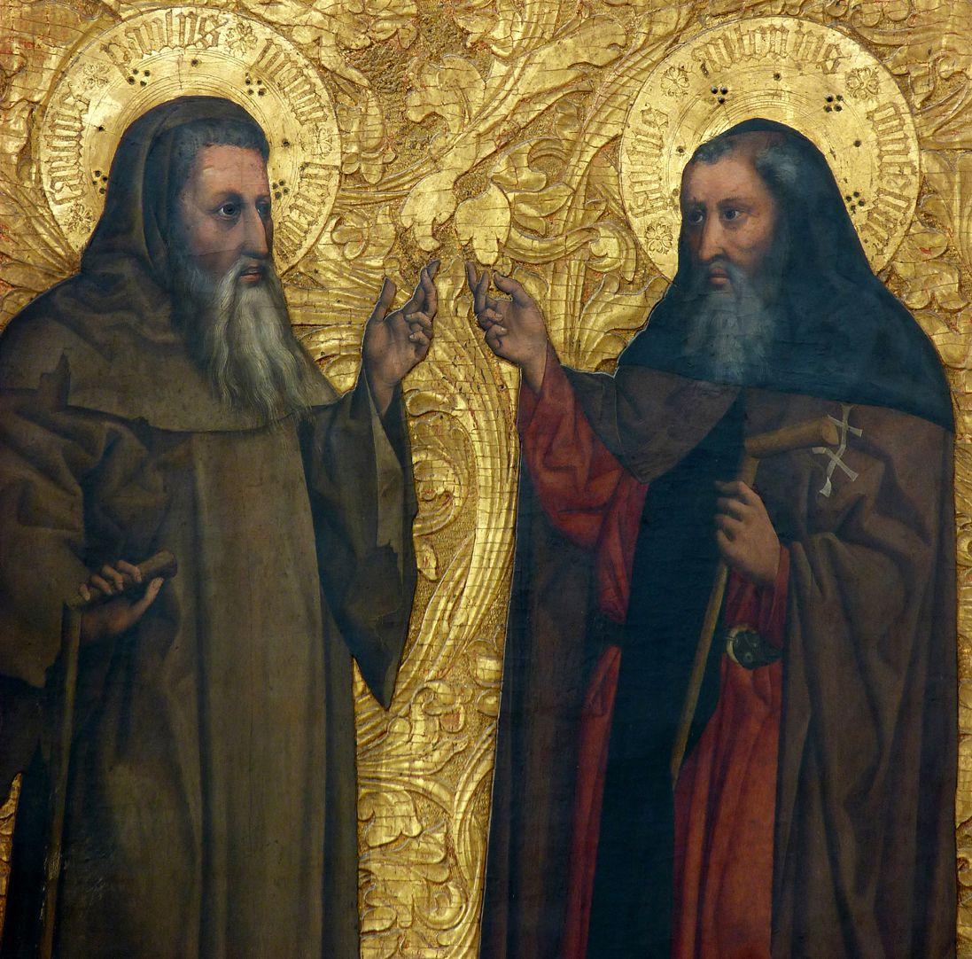 Tucheraltar Der hl. Paulus Eremita und der hl. Antonius Abbas im Gespräch, Detail