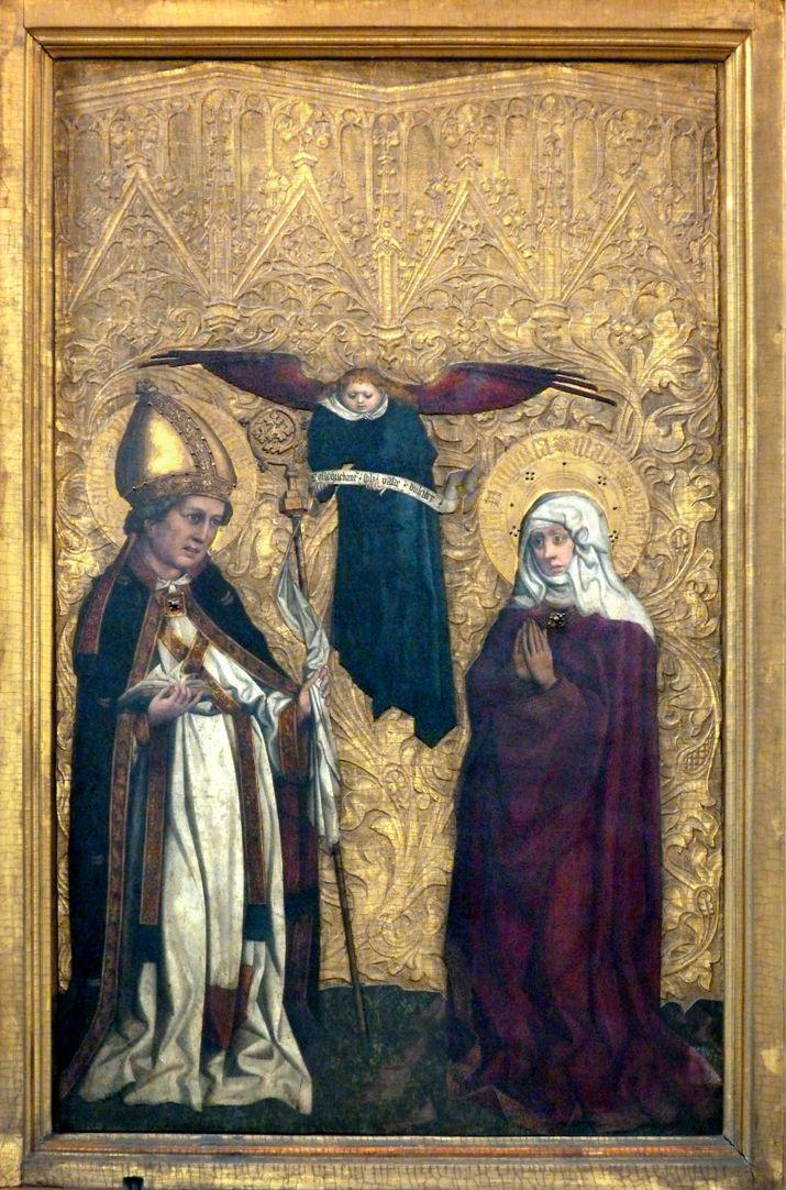 Tucheraltar L. Flügelseite, der hl. Augustinus, seine Mutter die hl. Monika und Spruchbandengel