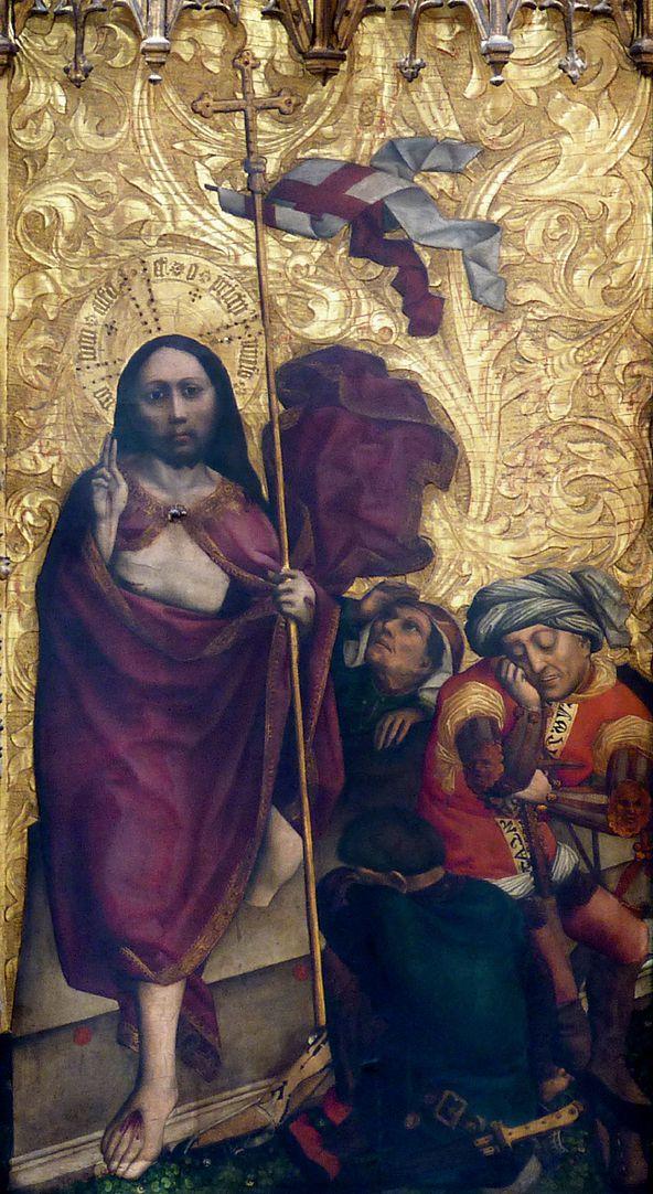 Tucheraltar Mitteltafel, rechts, Auferstehung Jesu mit drei Wächtern