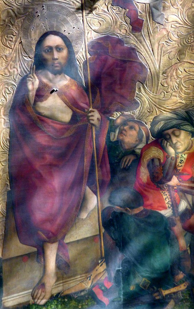 Tucheraltar Mitteltafel, rechts, Auferstehung Jesu, Foto im Streiflicht