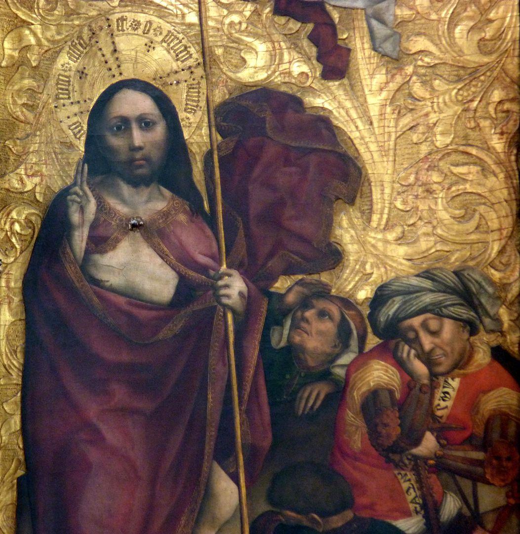 Tucheraltar Mitteltafel, rechts, Auferstehung Jesu, Detail mit Wächtern