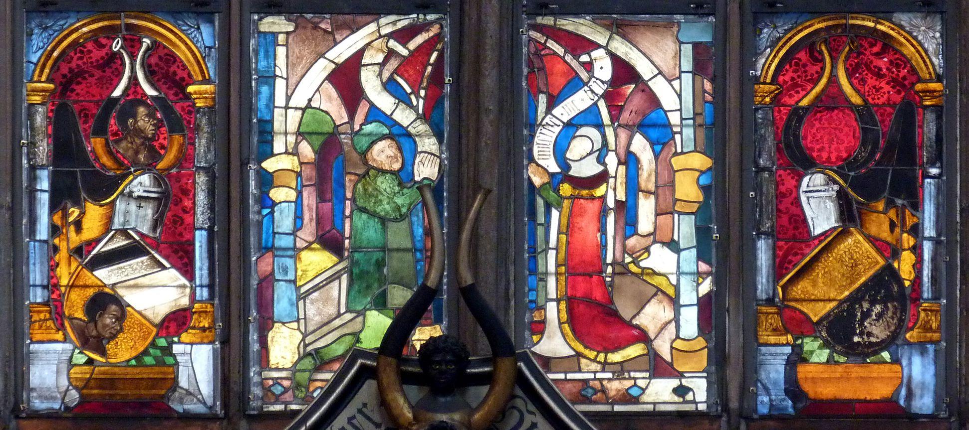 Tucher-Fenster Stifterzeile mit Bertold Tucher (gest. 1379) und Anna Pfinzing (gest. 1381)