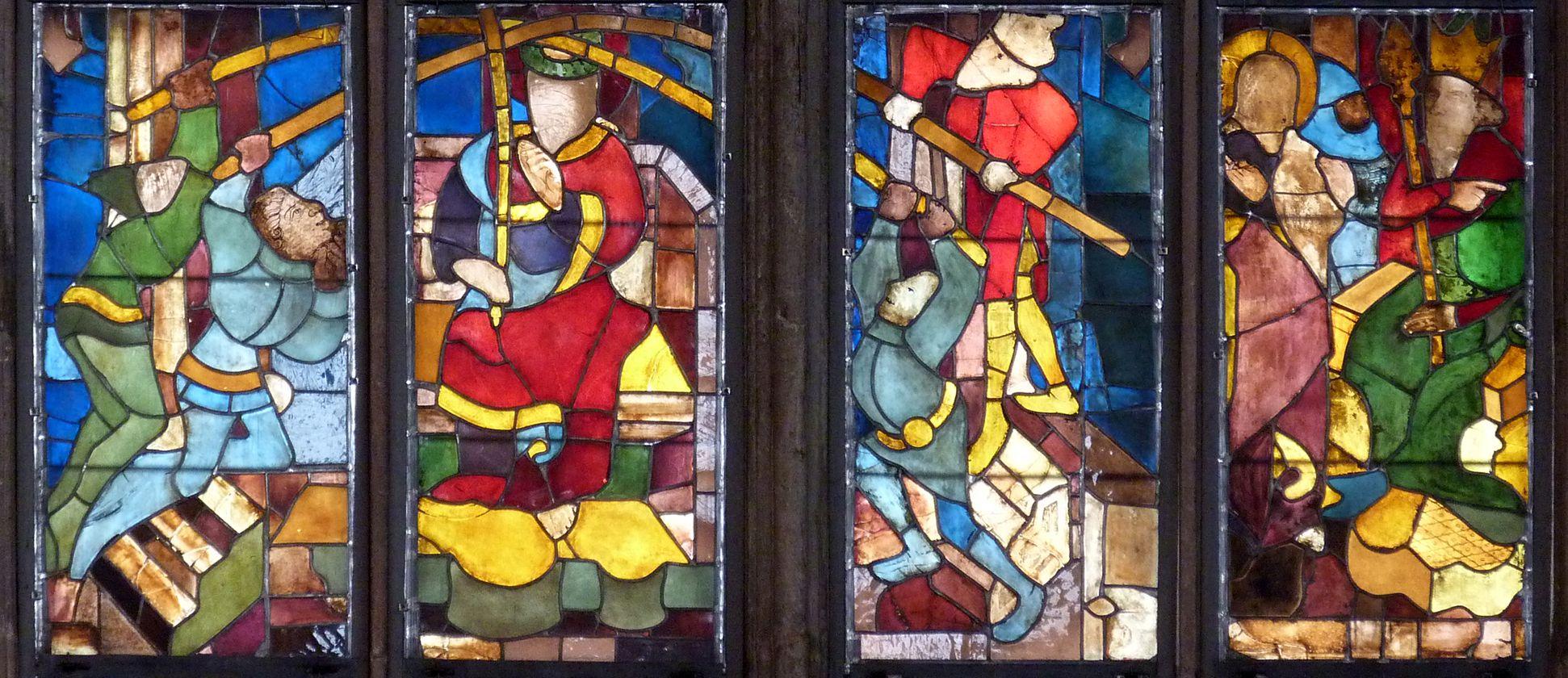 Tucher-Fenster Zweite Zeile: Dornenkrönung und Verhör Christi durch Herodes