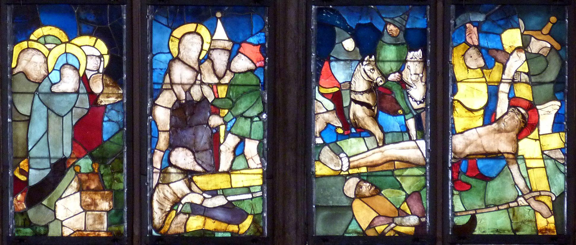 Tucher-Fenster Vierte Zeile: Entkleidung Christi und Kreuzanheftung