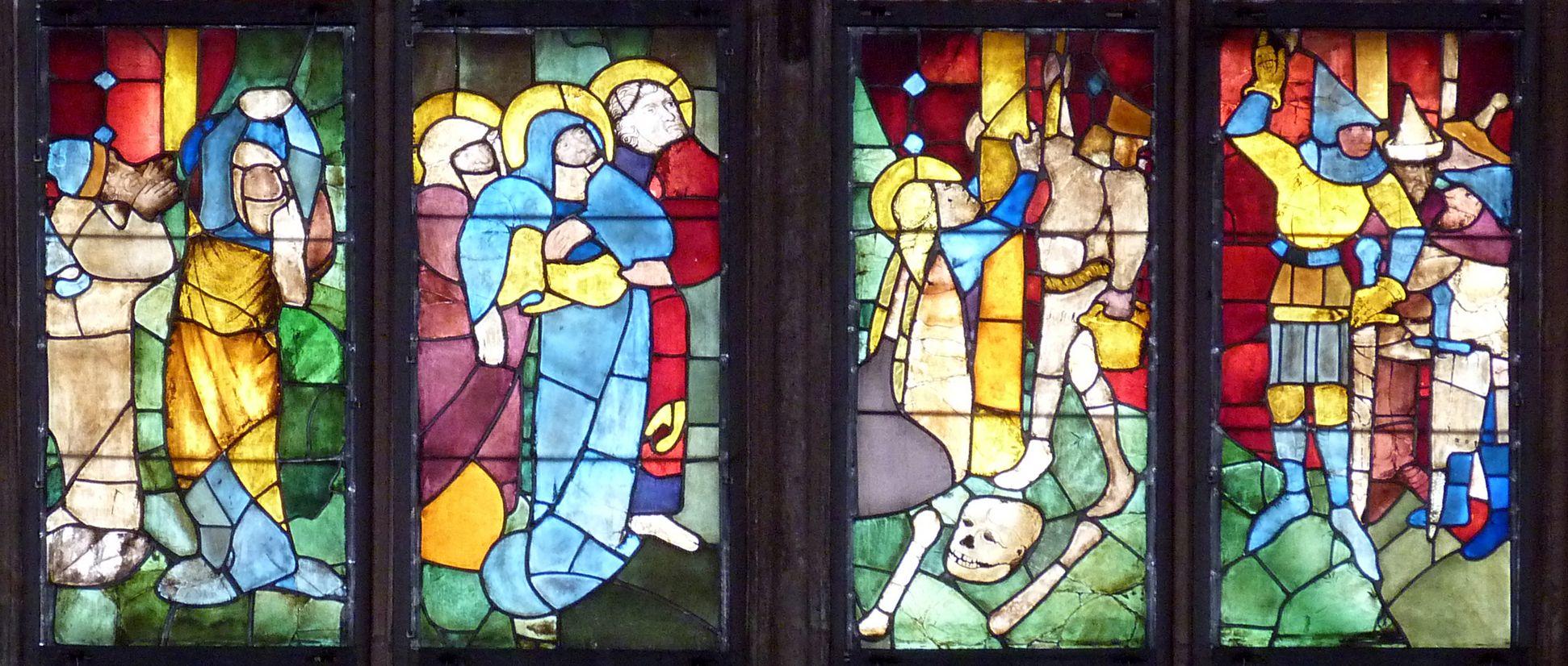 Tucher-Fenster Fünfte Zeile: Trauernde, Magdalena unter dem Kreuz, Hauptmann und Soldaten