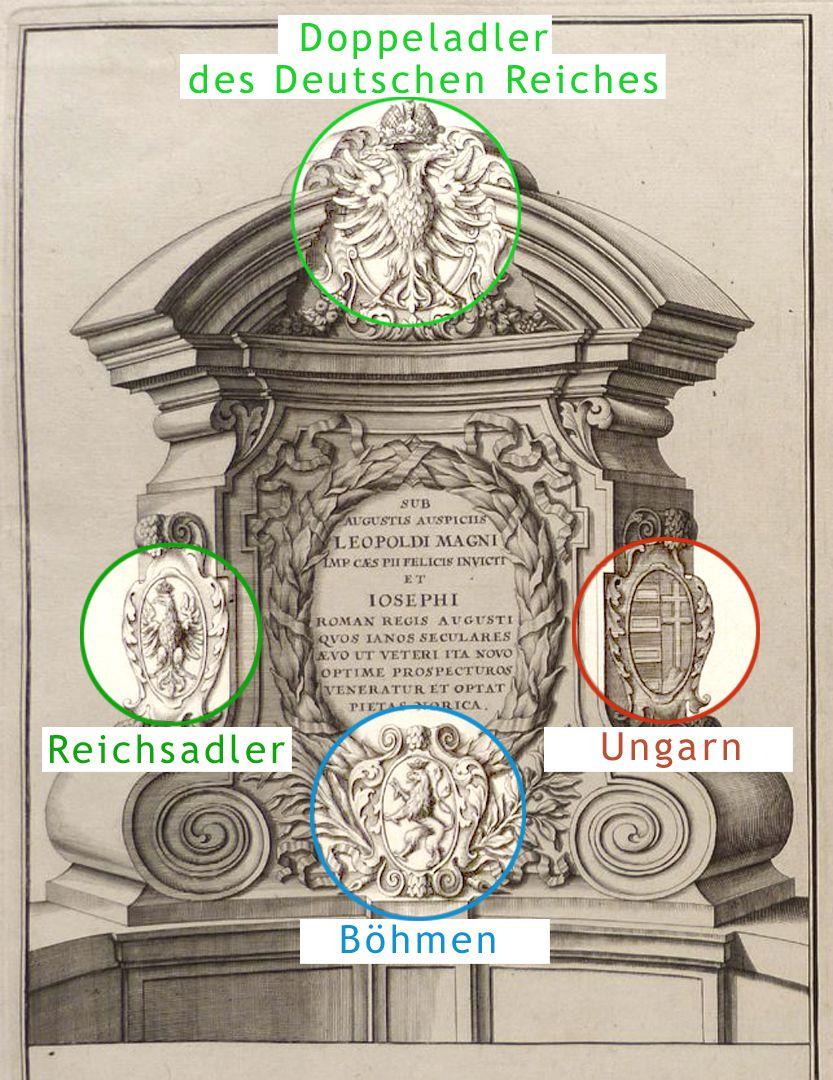 Kanzeln der Museumsbrücke mit Inschriften östliche Kanzel mit Wappen