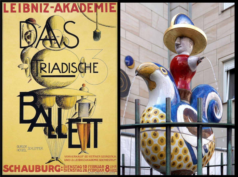 Gockelreiterbrunnen Das Triadische Ballett, Plakatentwurf 1924, Oskar Schlemmer.