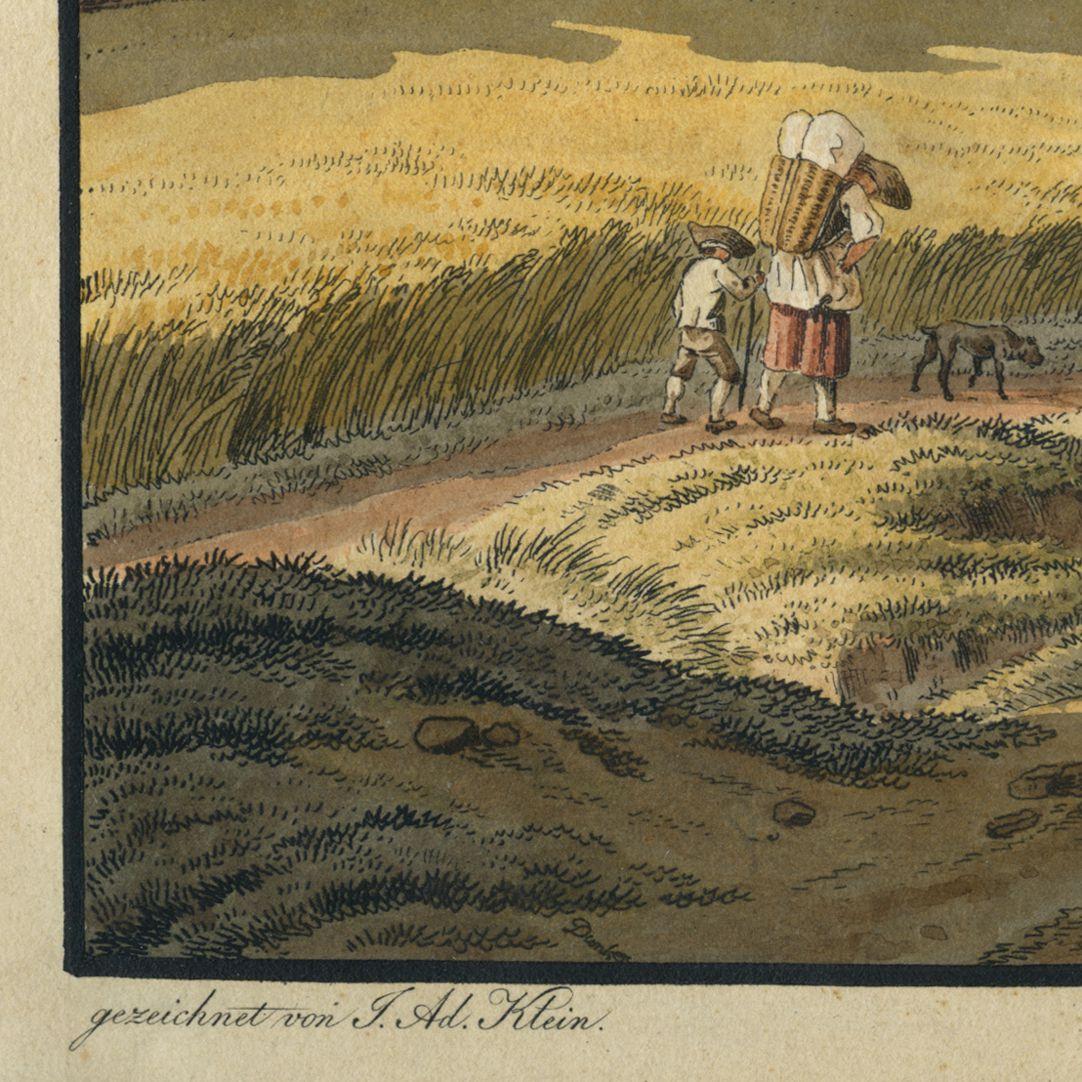 """Schiebelsberg (Schübelsberg) """"gezeichnet von J.Ad. Klein"""" und Dunker Signatur am unteren Bildrand"""