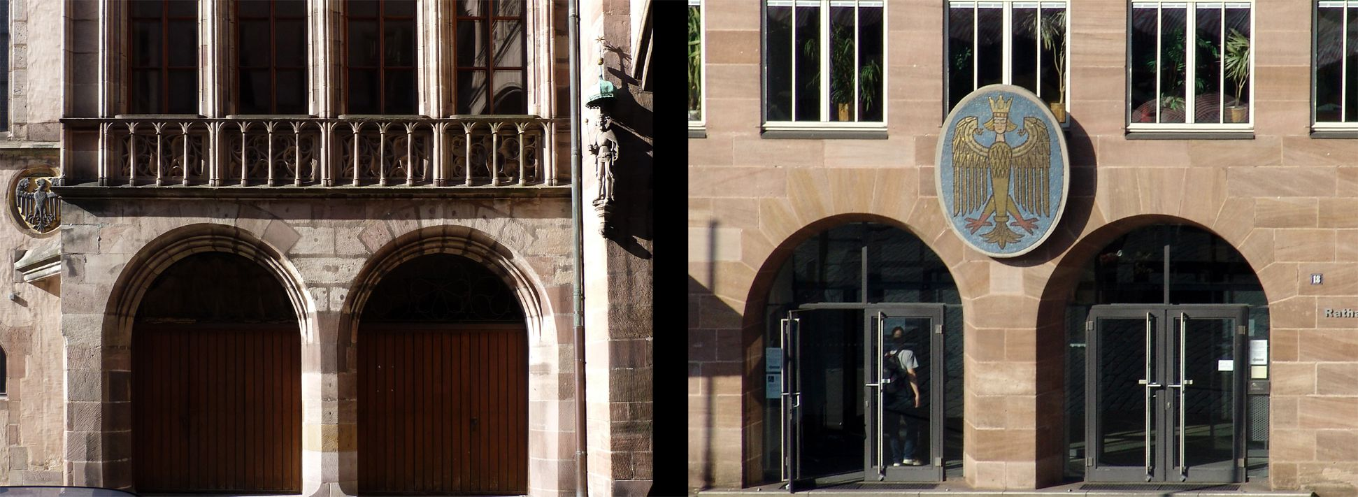 Zwillingsportale von der Ratsstube und dem Neuen Rathaus Vergleich