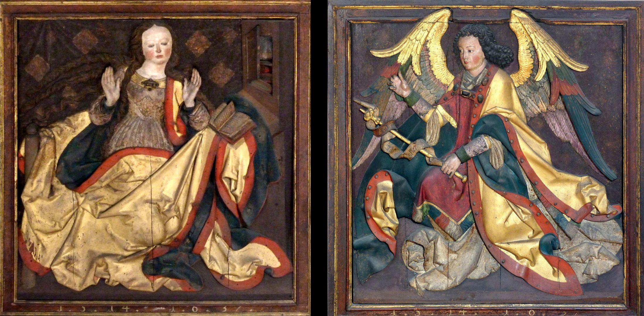Reliefs einer Verkündigung Mariens Paneele eines verlorengegangenen Flügelaltars?