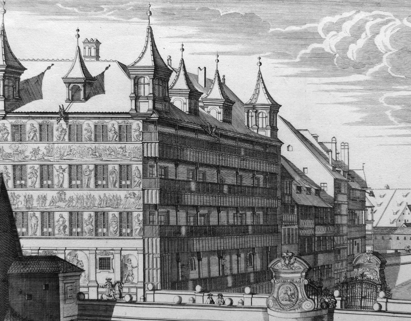 """""""Die A.C.1700.zu Ihrer Kaiserlichen und königlichen Majestäten …"""" Neue Brücke mit Viatishaus Bildausschnit mit Viatishaus"""
