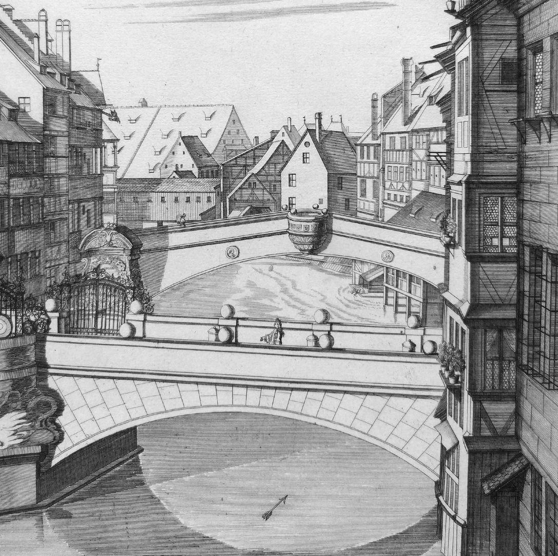 """""""Die A.C.1700.zu Ihrer Kaiserlichen und königlichen Majestäten …"""" Neue Brücke mit Viatishaus Blick zur Fleischbrücke"""
