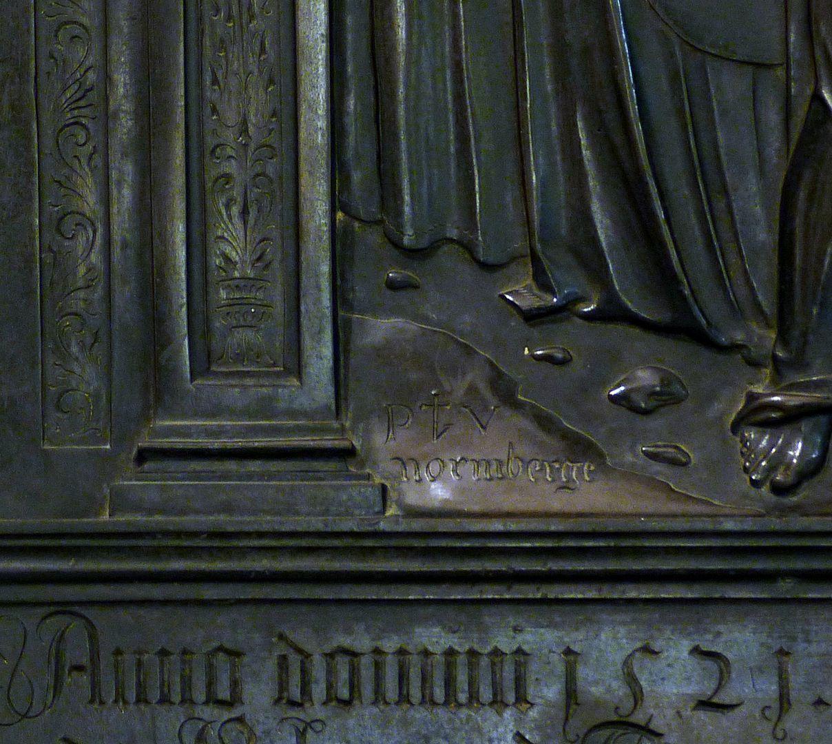 Messingepitaph der Margarete Tucher Signatur des Künstlers