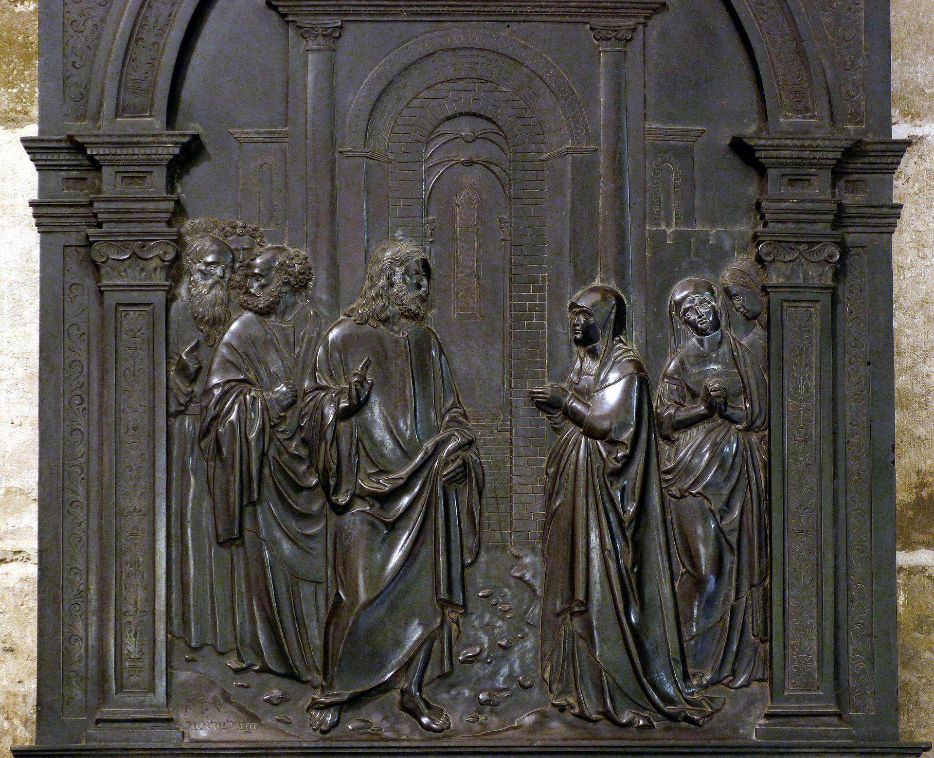 Messingepitaph der Margarete Tucher Jesus mit dem Kanaanäischen Weib