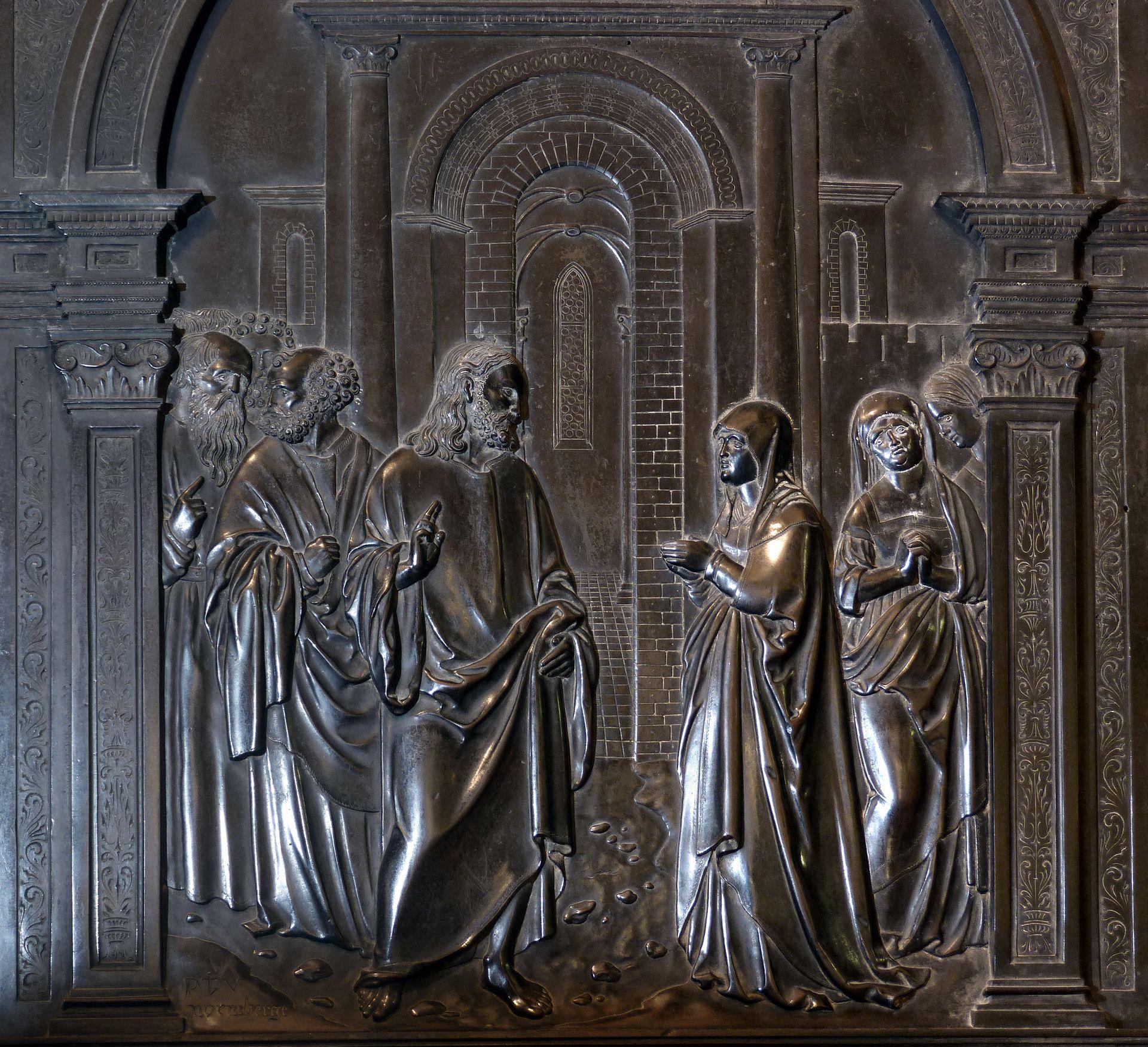 Messingepitaph der Margarete Tucher Jesus mit dem Kanaanäischen Weib, Blitzaufnahme