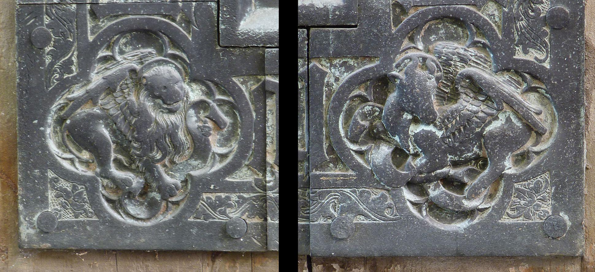 Balthasar von Neuenstadt Evangelistensymbole der unteren Ecken: Löwe für Markus und Stier für Lukas
