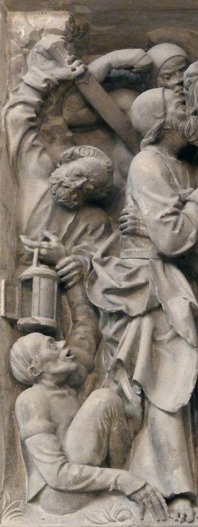 Volckamersche Gedächtnisstiftung, Reliefplatten Gefangennahme, Detail: Petrus schneidet Malchus, dem Knecht des Hohenpriesters das rechte Ohr ab