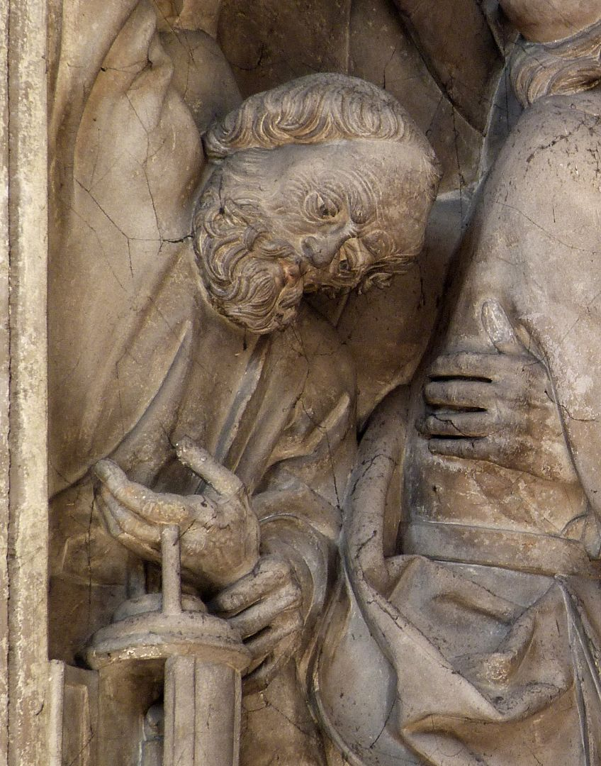 Volckamersche Gedächtnisstiftung, Reliefplatten Gefangennahme, Detail Petrus