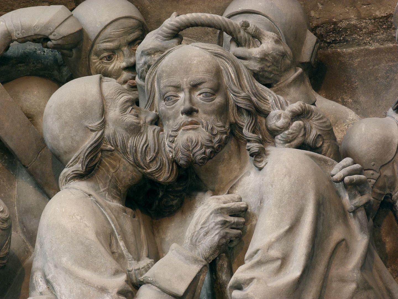 Volckamersche Gedächtnisstiftung, Reliefplatten Gefangennahme, Detail: Judaskuss