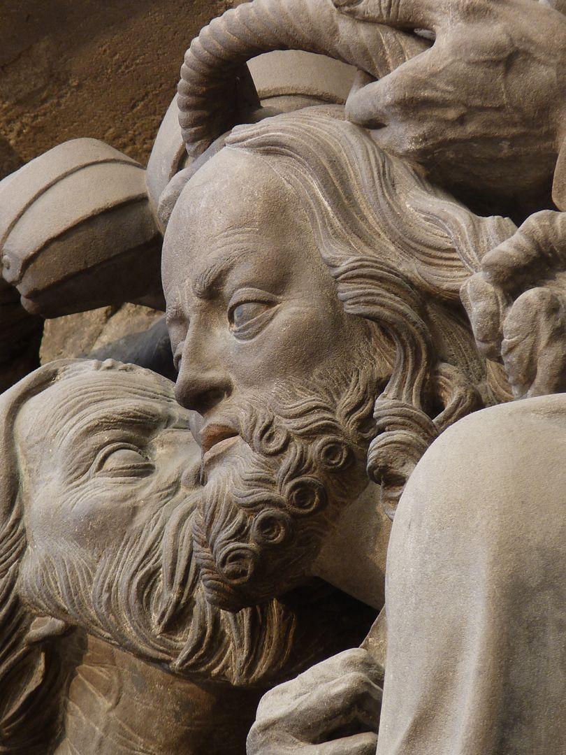 Volckamersche Gedächtnisstiftung, Reliefplatten Gefangennahme, Detail: Judaskuss von der Seite