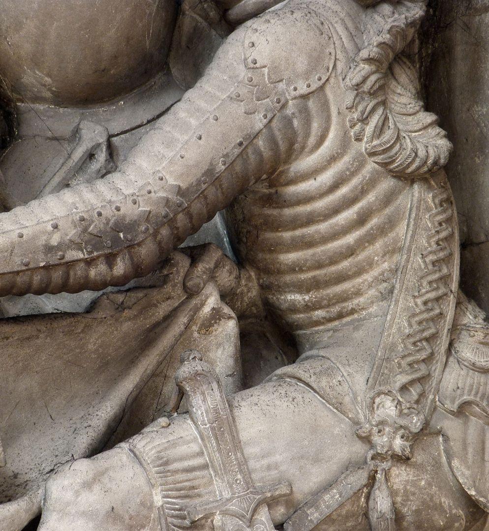 Volckamersche Gedächtnisstiftung, Reliefplatten Gefangennahme, Detail mit Harnisch