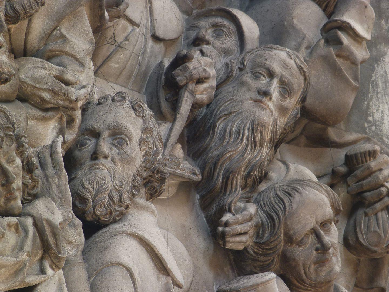 Volckamersche Gedächtnisstiftung, Reliefplatten Letztes Abendmahl, Apostelköpfe
