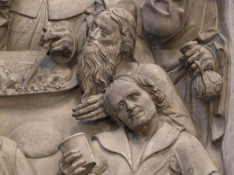 Volckamersche Gedächtnisstiftung, Reliefplatten Letztes Abendmahl, rechts Geldbeutel des Judas mit den durchscheinenden Silberlingen