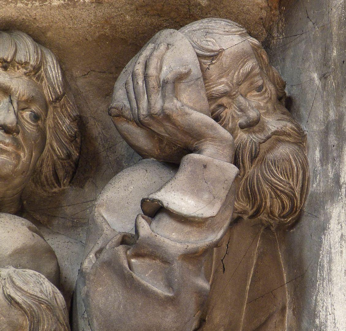 Volckamersche Gedächtnisstiftung, Reliefplatten Letztes Abendmahl, Judas, Detail