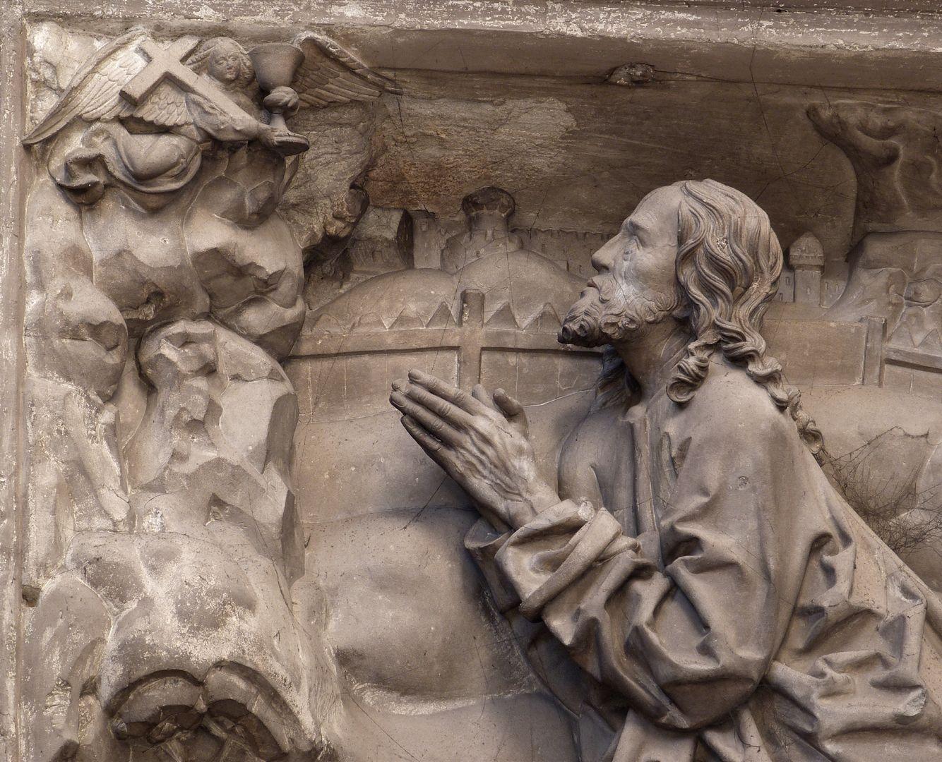 Volckamersche Gedächtnisstiftung, Reliefplatten Ölberggebet, der betende Christus
