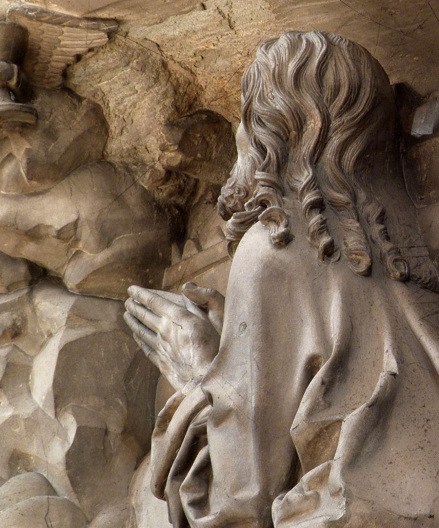 Volckamersche Gedächtnisstiftung, Reliefplatten Ölberggebet, Schulteransicht Christi