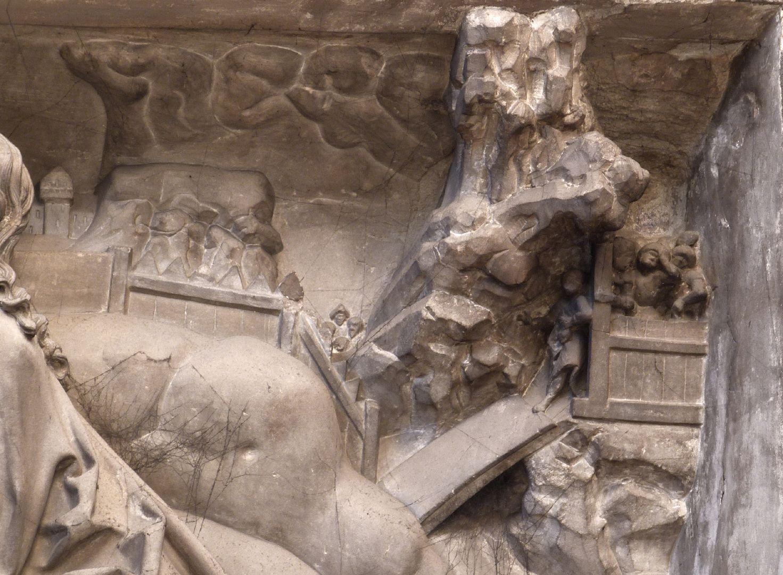 Volckamersche Gedächtnisstiftung, Reliefplatten Ölberggebet, rechte obere Ecke: Judas führt die Soldaten in den Garten