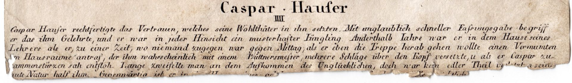 Caspar Hauser  IV Bildunterschrift