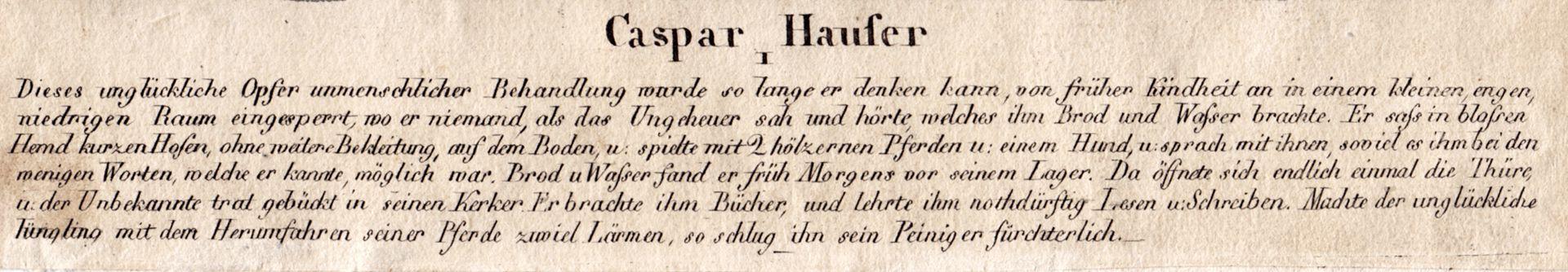 Caspar Hauser I Bildunterschrift