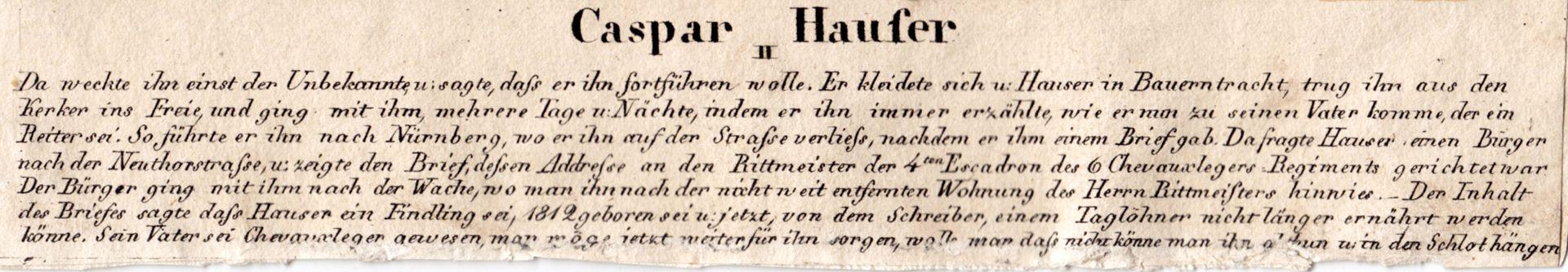 Caspar Hauser  II Bildunterschrift