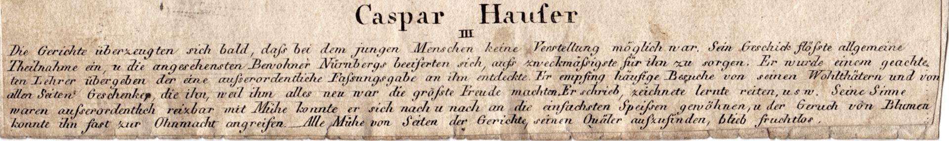 Caspar Hauser  III Bildtunterschrift