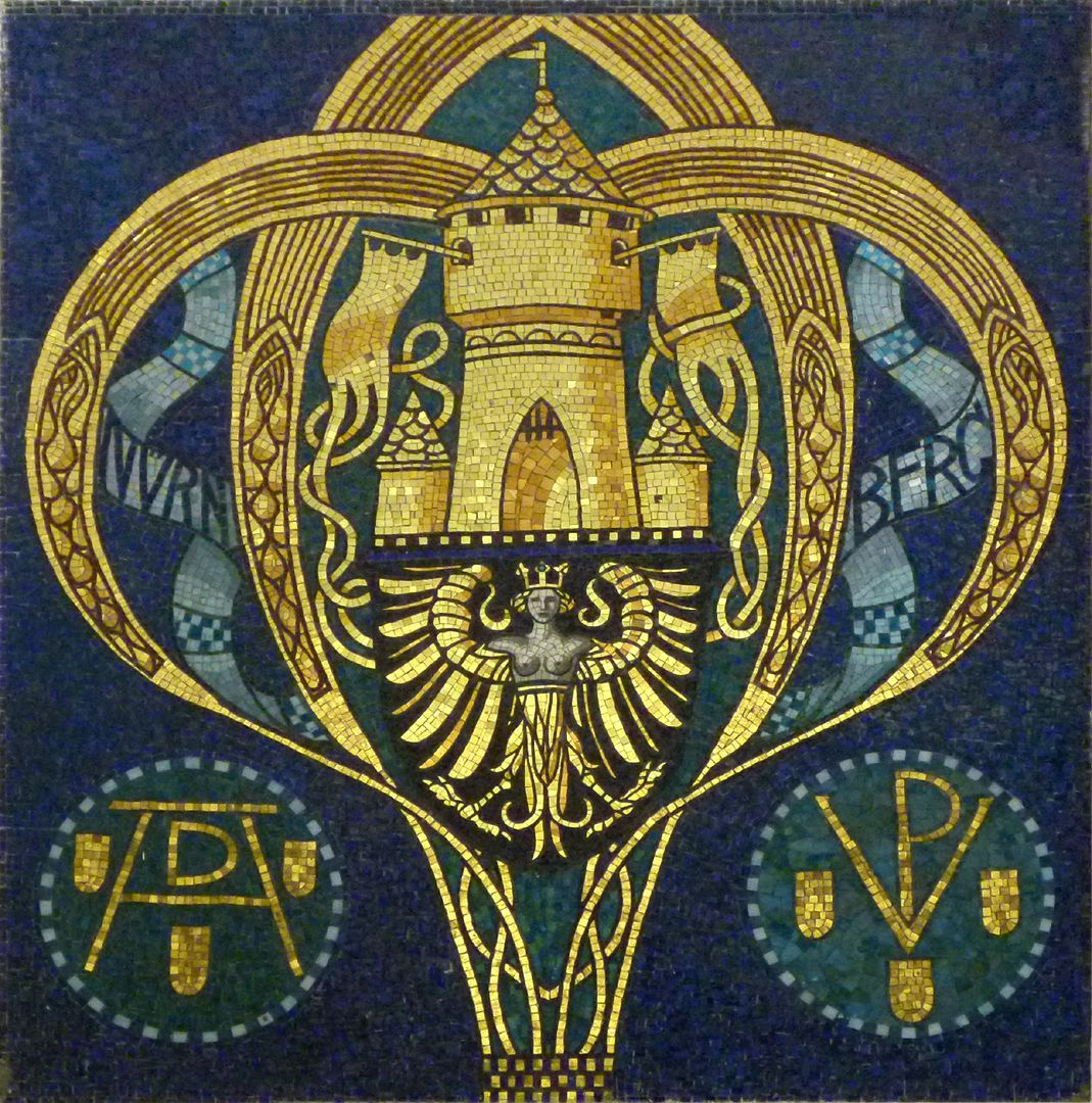ehem. Bayerische Landesgewerbeanstalt Jugendstilmosaik mit Nürnberger Symbolik