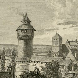 Aussicht vom Fünfeckigen Thurm gegen die Burg