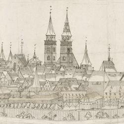 Panoramadarstellung der Stadt Nürnberg von Westen