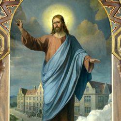 Jesus breitet segnend seine Hände über die Nürnberger Taubstummen-Anstalt aus