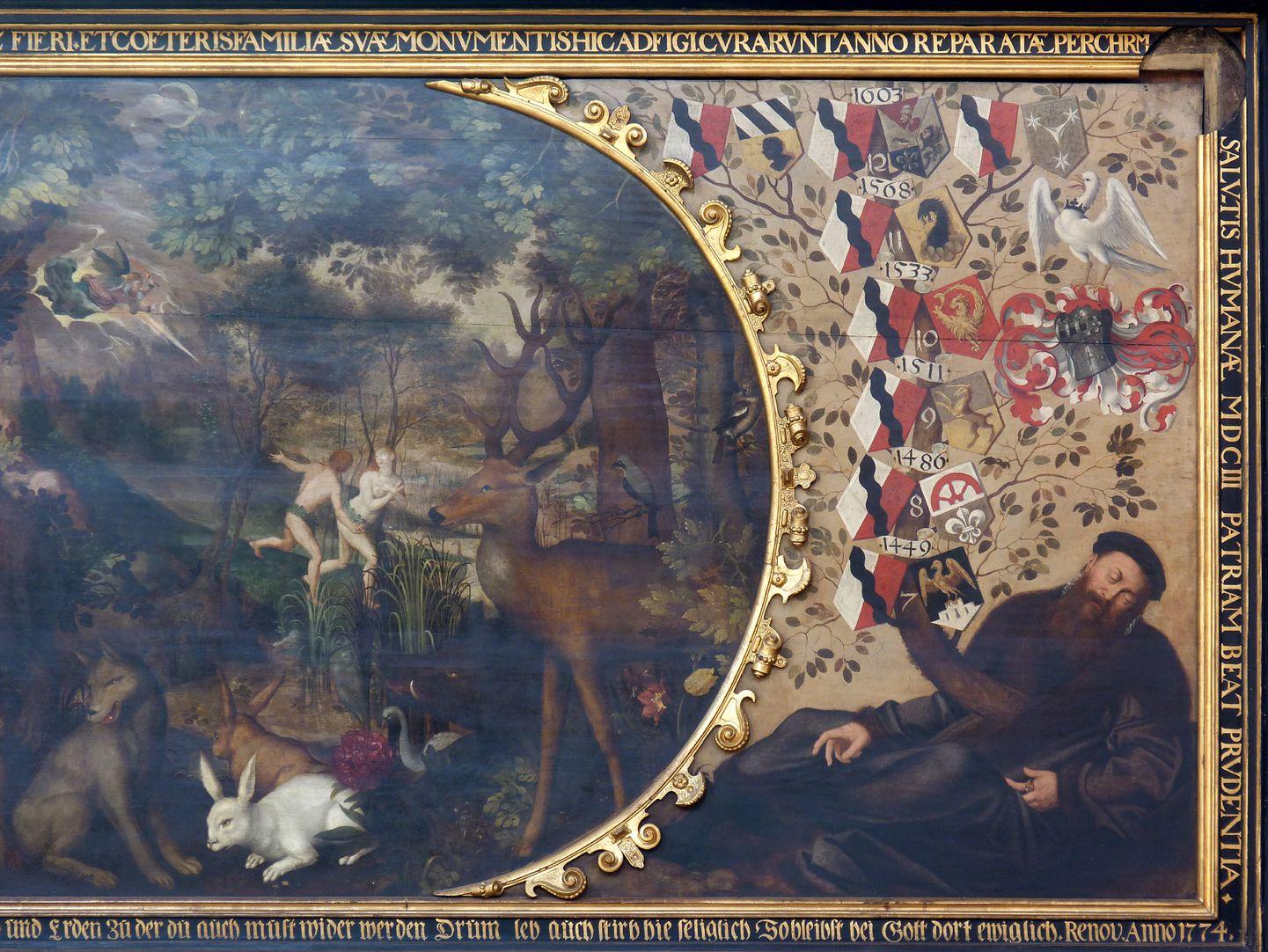 Gedächtnisbild der Familie Behaim rechter Bildteil, von l. nach r. Vertreibung, Paradiestiere, liegender Stammvater der Familie mit Wappen und Filakterien
