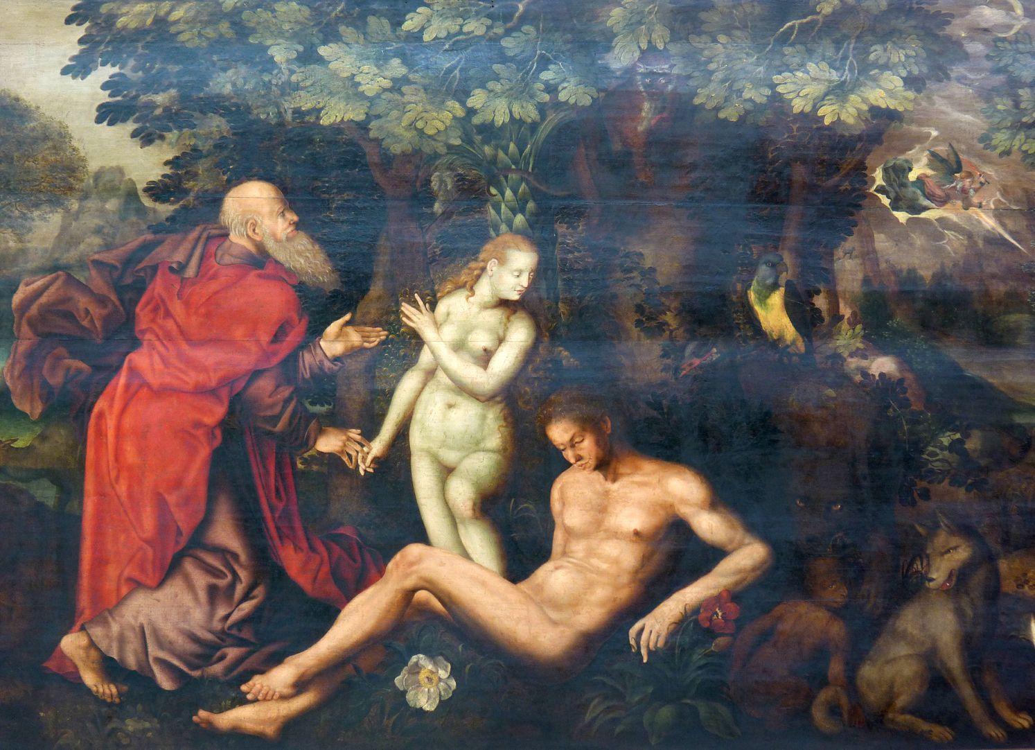 Gedächtnisbild der Familie Behaim Gott zieht Eva aus der Seite Adams