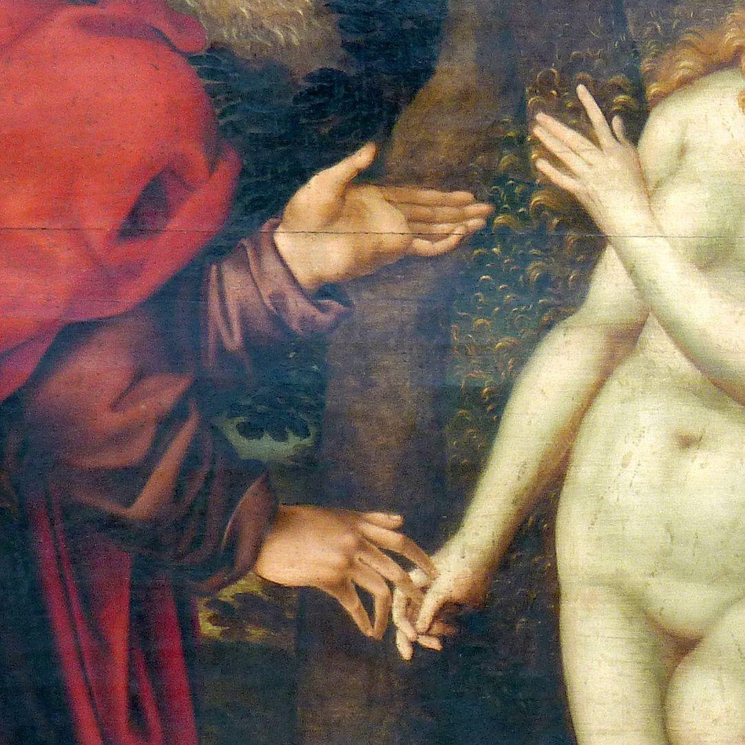 Gedächtnisbild der Familie Behaim Gott zieht Eva aus der Seite Adams, Detail